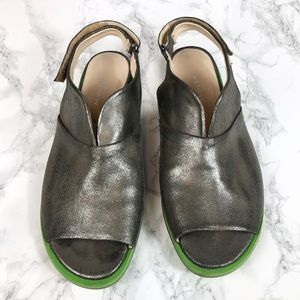 Audley London Silver Metallic Leather Sandals 41